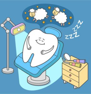 sleeping tooth funny image to show dental anxiety treatment options