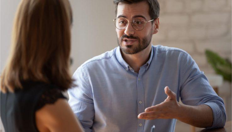 boss talking to employee
